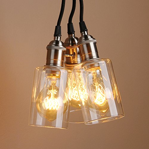 Pathson industrial modern vintage victorian cluster 3 light fitting pendant lights loft bar kitchen hanging ceiling light lamp fixture chandelier with glass