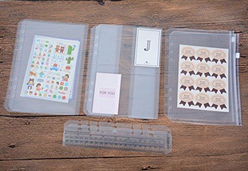 Funcoo raccoglitore ad anelli in plastica con cerniera/bill sacchetto/3tasche nome della borsa, set da 6raccoglitori planner notebook ricariche + 2plastica segnalibro righello di misura per raccoglitore ad anelli notebook a5