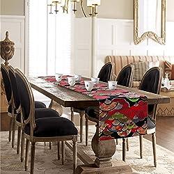 DSFHKUYB [Teezeremonie] Tischdecke decke Hand-painted Tisch Bett Renner Tischdecke decke Abdeckung Tuch Zierleiste-A 30x180cm(12x71inch)