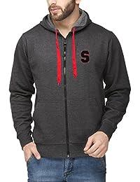 Scott International Cotton Blend Men's Sweatshirt With Zip Hood Charcoal Grey