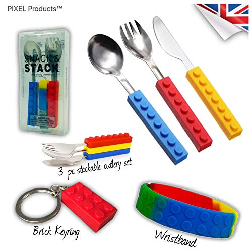 Set regalo composto da posate e cinturino in silicone impilabili per bambini