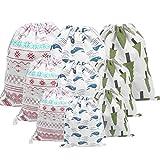 ZERHOK Borsa di stoccaggio in cotone di lino Cordino sacchetti regalo 3×3 PCS Materiale di cotone avere colori diversiadatto per viaggi e stoccaggio (Borsa di stoccaggio in cotone di lino)