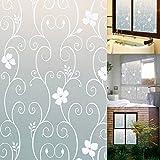 KING DO WAY 40x100cm Sichtschutzfolie Milchglasfolie Fenster Folie Blume Deko selbstklebend