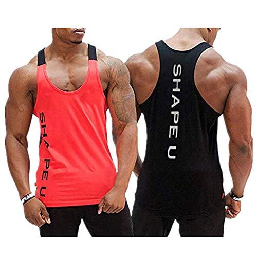 Storerine Mode Tank,SHAPEU Zwei-farbige Muskel-Herrenweste für Herren Ärmelloses Männer Tank Top T-Shirt Bodybuilding Sport Fitness Weste -