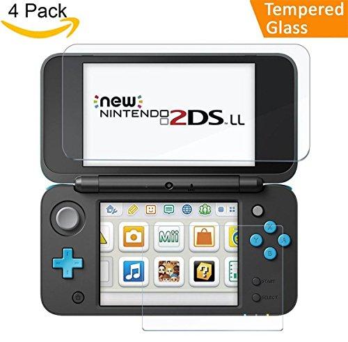Nintendo 2DS XL Protector De Pantalla [2x Vidrio Superior + 2x Vidrio Inferior], CAVN Cristal Templado para Nintendo 2DS XL, [Dureza 9H] [Altamente Respuesta] [Resistente a los arañazos] [Cobertura completa]