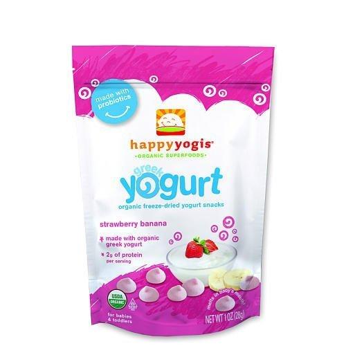 Happy Yogis Organic Greek Yogurt & Fruit Snacks Strawberry & Banana 1 Oz by Happy Baby