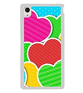 Multi Colour Hearts 2D Hard Polycarbonate Designer Back Case Cover for Sony Xperia M4 Aqua :: Sony Xperia M4 Aqua Dual