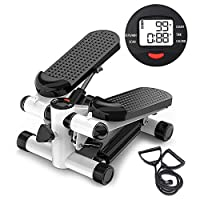 Mini Stepper Trainer Adjustable Height Stepper Exercise Machine with Resistance Bands and LCD Monitor Air Climber Stepping Fitness Machine