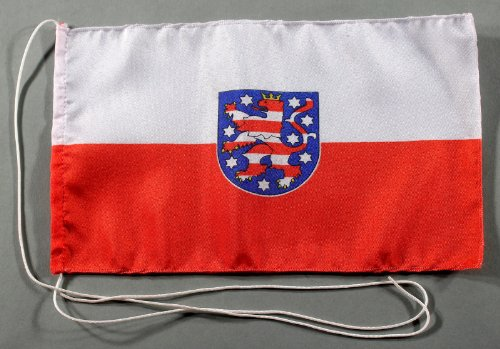 Thüringen German State 15x25 cm Tischflagge in Profi - Qualität Tischfahne Autoflagge Bootsflagge Motorradflagge Mopedflagge
