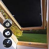 KINLO Store pour Fenêtre de Toit 96 x 93 cm Noir Velux Rideau Occultant Complète avec Ventouses sans Perçage Protection Solaire au Revêtement Thermique...