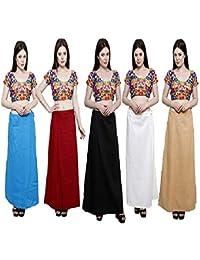 RTI GROUP Women's Cotton Inskirt Saree Petticoats (Multicolour) -Combo of 5