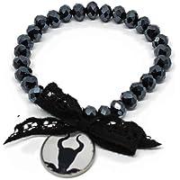 Bracciale elastico con cristalli neri da 8x6 mm e ciondolo Malefica inspired