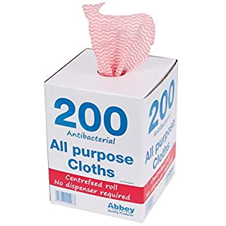 Abbey CNT04501 Antibacterial Cloths on a Roll, 220 x 370 mm, Red (Pack of 200)