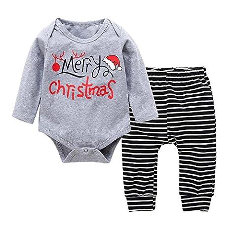 Baby Kleinkind Jungen Grils Kleider Set, Baywell Weihnachten Outwear Langarm Spielanzug & Gestreifte Hosen (S/70/3-6 Monate, (Kleinkind-jungen Set)