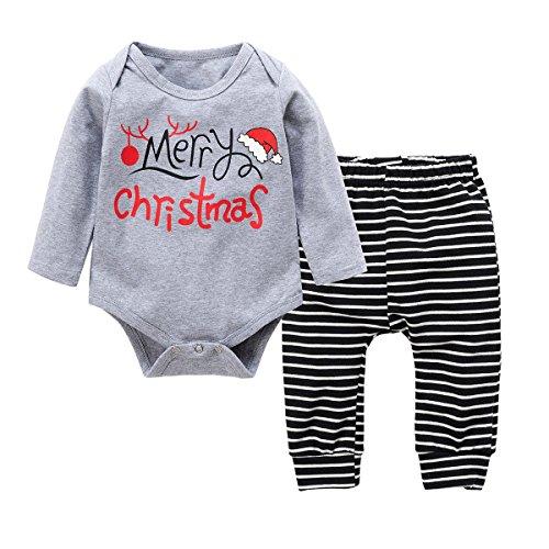 Baby Kleinkind Jungen Grils Kleider Set, Baywell Weihnachten Outwear Langarm Spielanzug & Gestreifte Hosen (XS/60/3-6 Monate, Grau) (Hose Set Bestickte Winter)