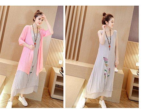 Femmes Mode chinois Vent Impression Deux Pièces Coton Robe en lin + Châle Cardigan Rose