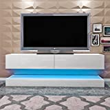 1x Modern TV Stand Cabinet with LED Lights High Gloss, Item Dimension: Height 45 cm*Width 130 cm*Depth 34 cm (White)