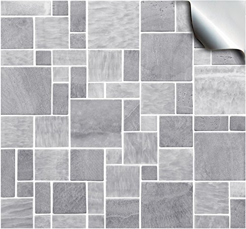 30 Light Grey - Self Adhesive Mosaic Wall Tile Decals For 150mm (6 inch) Square Tiles –(TP31)- Realistic Looking Stick On Wall Tile Transfers Directly From the Manufacturer: TILE STYLE DECALS, No Middleman -- Peel and Stick on Tile to Transform your Kitch