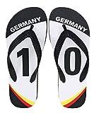 Deutschland Flips im Fußball Design 'GERMANY #10' (Team Edition) inkl. KOSTENLOSEN Badelatschen Schuhbeutel - Unisex (41/42)