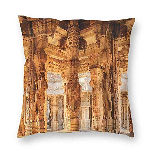 Dress rei Ancient Square Form Decorative Pillow Famous Monument Sofa or Bed Set 18x18 Inch -