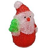 Markenlos LED Weihnachtsfigur Nikolaus 17 cm Acryl Batteriebetrieb Farbauswahl, Ausfuehrung:mit grünem Baum