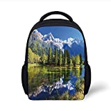 Kids School Backpack Outdoor,Snowy Mountains...
