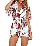 Para mujer Celeb Mini Playsuit Ladies Jumpsuit Summer Shorts Beach Sun Dress Mujer Verano Casual Floral Sin Mangas Tanque Tops Crop Tops Camiseta y Pantalones de Corto 2 Piezas Conjunto (M, Blanco)