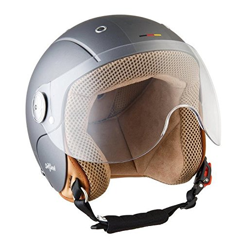 SOXON SK-55 Kids Plus Titan · Urbano Vintage Cruiser Helmet Retro Mofa Kids NINOS Moto motocicleta Urban Vespa Casco Jet Mini-Jet Scooter Pilot Chopper Bobber Biker · ECE certificado · visera incluido · incluyendo bolsa de casco · Gris · XXS (49-50cm)