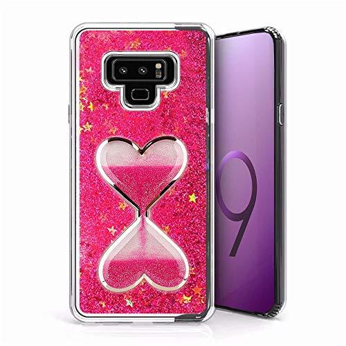 Für Galaxy Note 9Glitter Case, qkke [Wein Glas Diamond Series] 3D Glitzer Bling Herzen Flüssigkeit Star Clear Hard Case für Samsung Galaxy Note 9, beige Diamond Bling Hard Case