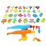 VGEBY 39 Stücke Angeln Spielzeug, Magnetische Spielzeug Angeln Spiel Set Pädagogisches Spielzeug Angelrute + Fischernetz + Spielzeug Organismus für Kinder Baby
