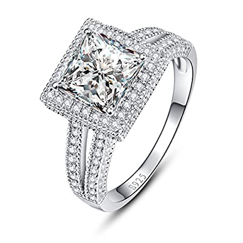 JQUEEN 925 Sterling Silver Split Shank Princess Cut CZ Engagement Promise Ring for Her Size 9