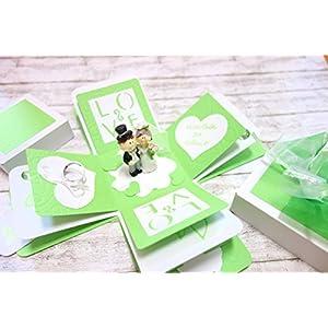 Geldgeschenk Geschenkschachtel Geschenkbox zur Hochzeit grün mintgrün Explosionsbox Magicbox Geschenkverpackung Box Brautpaar Handgefertigt