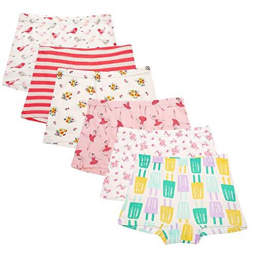 Cassiecy 6 Pack Kinder Mädchen Baumwolle Boxershorts Hipster Boxer Unterhose Panty Unterwäsche 2-13 Jahre (10-11Jahre, Stil 3)