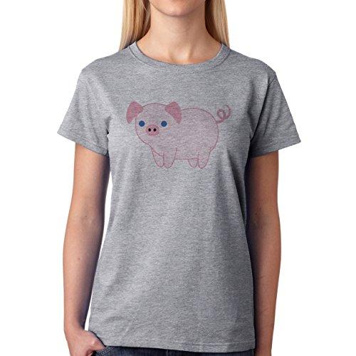 Pig Animal Farm Hog Pink Blue Eye Small Cute Damen T-Shirt Grau