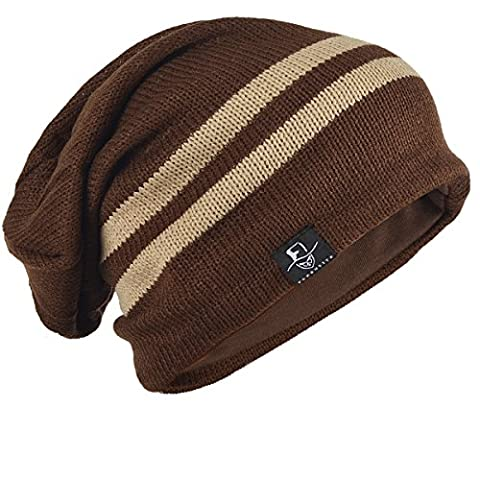 Chic Men Baggy Beanie Slouchy Knit Skull Cap Hat (B318-Brown)
