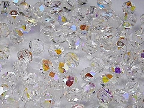 50 pcs Tchèque facettes perles de verre, Fire-Polished ronde 6 mm Crystal AB