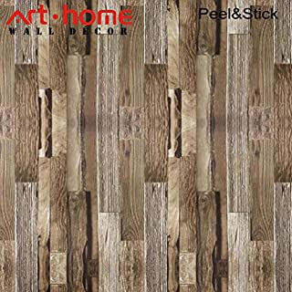 Arthome Wallpaper Contact Paper 31.6 Square Feet Wall Covering Distressed Vinyl Faux Wood Plank Self Adhesive Peel and Stick Moistureproof Waterproof Hanging Paper for Wall Décor (0.53 * 5.65m,)
