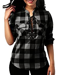 Bluestercool Women's Classic Plaid Check Shirt Long Sleeve Collared Bandage Pocket Down Blouse Tops