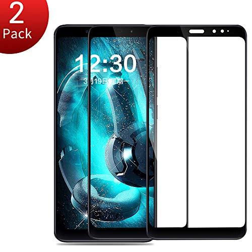 Panzerglas für Xiaomi Redmi Note 5, Volle Deckung Stoßfest Bubble Free Displayschutzfolie Folie, Anti Fingerabdruck 9H Härte Schutzfolie [2 Pack] (5,99 Zoll)