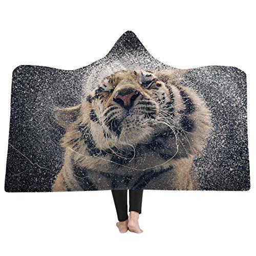 Stillshine 3D Schädel Tiger Elefant Dicke Fleece Decke Für Betten Super Weiche Mikrofaser Plüsch Mit Kapuze Decke Schule Bettdecke Erwachsene Reise (Abbildung 1, 130 x 150 cm)