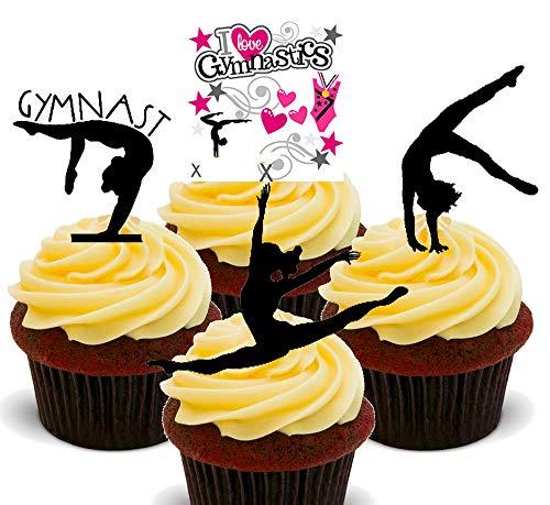 Made4You Essbare Kuchendekoration, Gymnast/Gymnastik-Silhouetten, aufstellbar, Oblaten-Topper, 24er-Pack