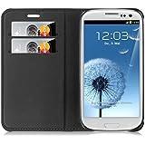 JAMMYLIZARD | Ledertasche für [ Galaxy S3 / S3 Neo ] Swiss Wallet Hülle, SCHWARZ mit integriertem Magnetverschluss