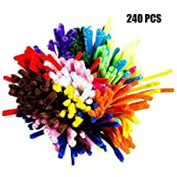G2PLUS Pipe Cleaners Bendy 240 PCS Chenille Stem for Arts and Crafts 6mm * 30cm Furry Wire Twist Tie in Assorted Colours