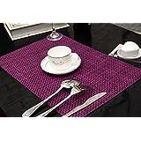 Clest F&H Set de Table Plastifié 5-5 Violet PVC Placemats Dining Table Sets Résistant à la Chaleur (Set of 2 pcs)