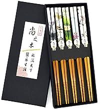 5 pares de palillos asiáticos flores japonesas palillos peces de colores Juego de regalo de los palillos chinos estilo (Flower)