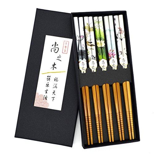 5 paia di bacchette fiori asiatici giapponese bacchette pesci colorati insieme cinese dono bacchette di stile (Flower) - Piatti Asiatici