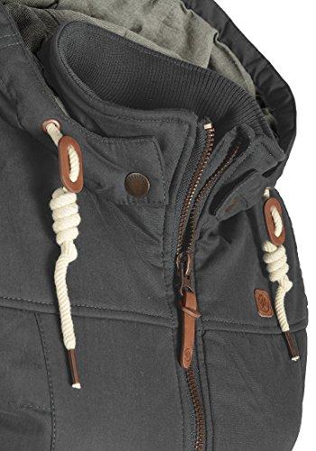 DESIRES Lewy Damen Steppweste Übergangsweste mit Kapuze aus hochwertiger Baumwollmischung Dark Grey (2890)