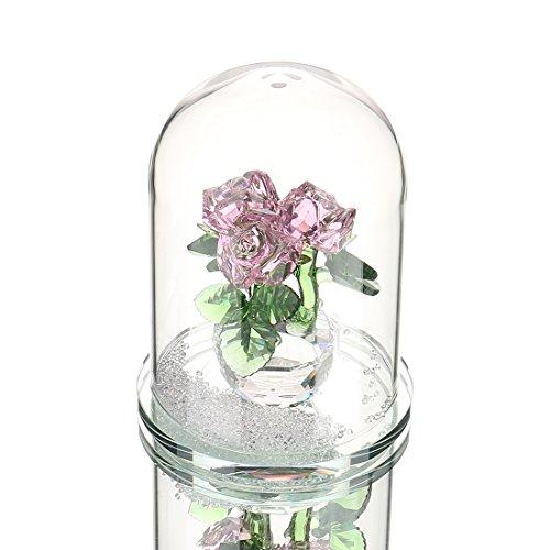Sconosciuto h & d rosa cristallo rosa bouquet di fiori statuetta a forma di cupola in vetro con scatola regalo