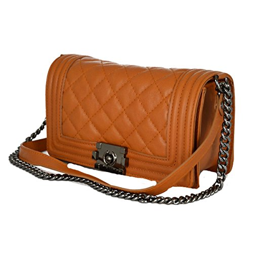 Borsa Donna In Pelle Trapuntata E Tracolla In Pelle E Catena Colore Cognac - Pelletteria Toscana Made In Italy - Borsa Donna