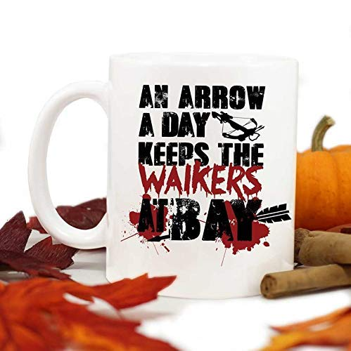 Walking Dead Mug,Zombie Lover Gift,Funny Mug,An arrow a day keeps the walkers at bay,Zombie,Zombie apocalypse -